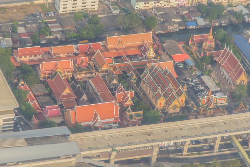 Aerial view of Wat Laksi Temple, Bangkok, Thailand. Nearby Don Muang International Airport royalty free stock images