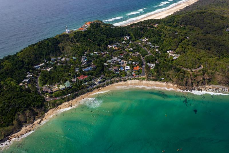 Aerial view of Wategoes Beach at Byron Bay with lighthouse. The Photo was taken out of a Gyrocopter, Byron Bay, Queensland,. Wategoes Beach aerial view at Byron stock photo