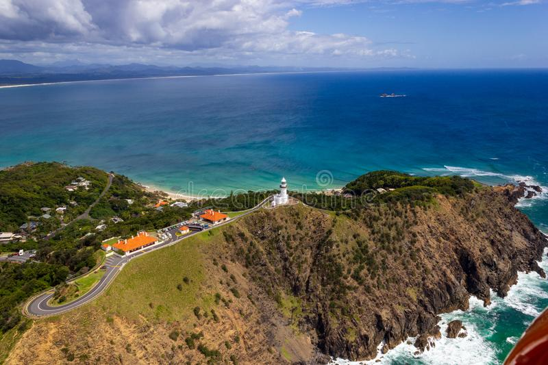 Aerial view of Wategoes Beach at Byron Bay with lighthouse. The Photo was taken out of a Gyrocopter, Byron Bay, Queensland,. Wategoes Beach aerial view at Byron royalty free stock photo