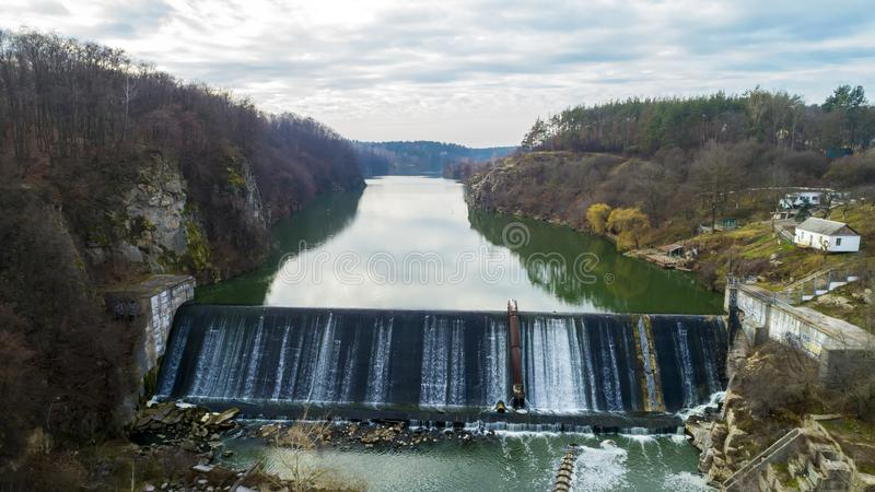 Aerial view of the water dam. Beautiful view of the river Teteriv landscape. Aerial view of the water dam. Beautiful view of the river Teteriv landscape royalty free stock images
