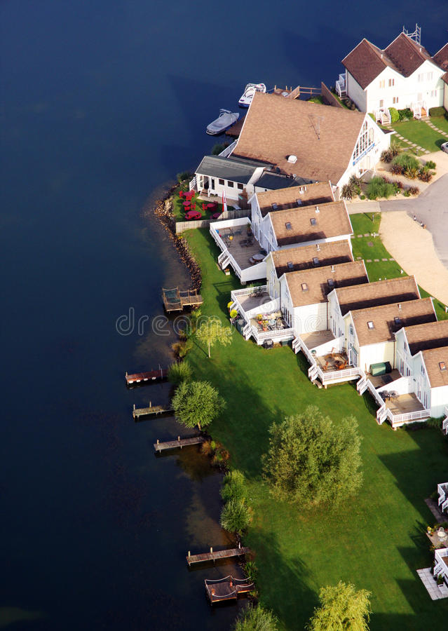 Aerial view of water front houses stock image