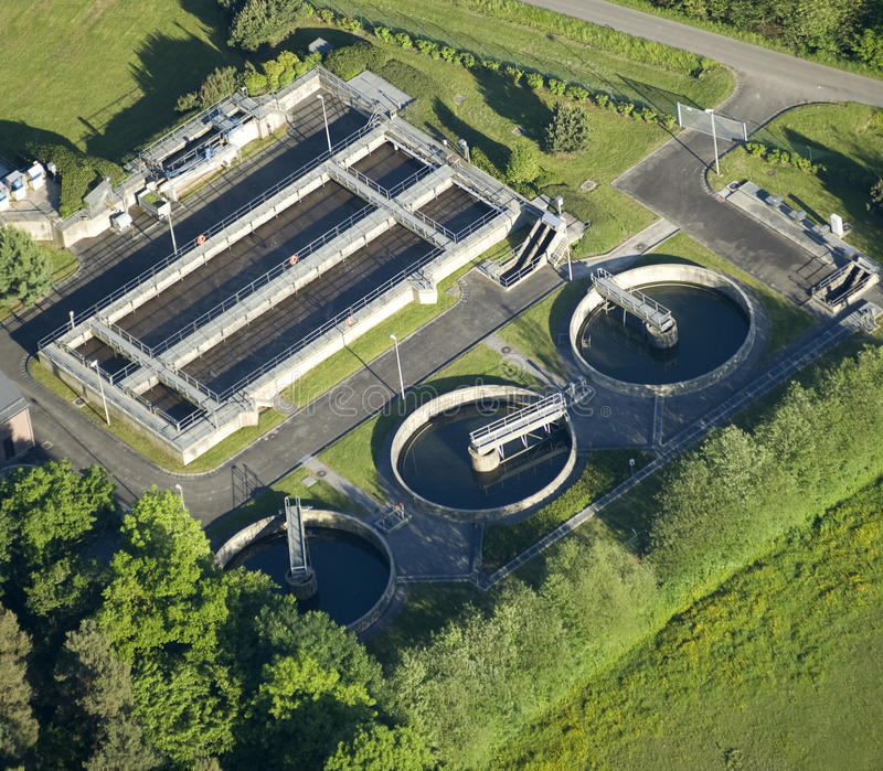 Aerial View : Water-treatment plant royalty free stock photography