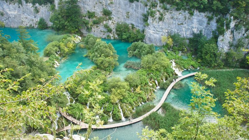 Aerial view of waterfalls and wooden ways in National Park Plitvice Lakes, Croatia royalty free stock photography