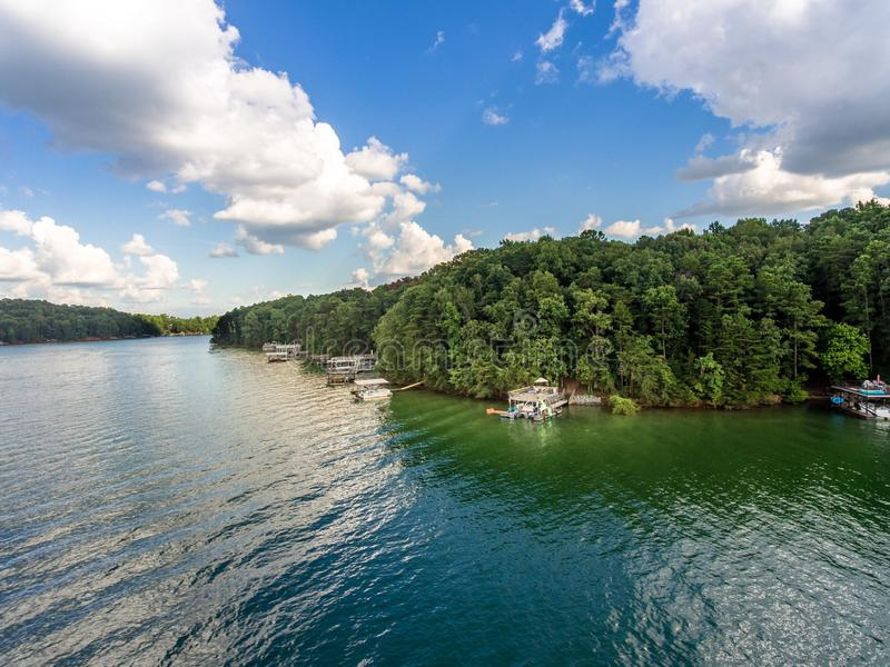 Aerial view of waterfront properties and boat docks in Lake Lanier. Shot in 2018 stock image