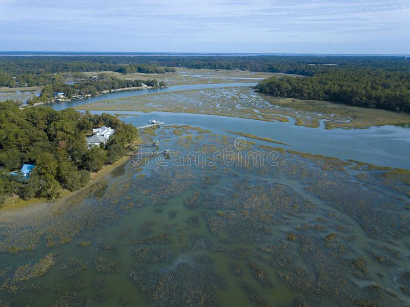 Aerial view of waterfront properties in South Carolina stock photography