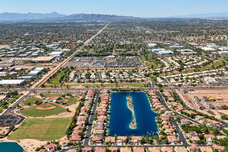 Aerial view of a waterski lake in Gilbert, Arizona. Aerial view looking west of the Playa Del Rey waterski lake community in Gilbert, Arizona royalty free stock photography