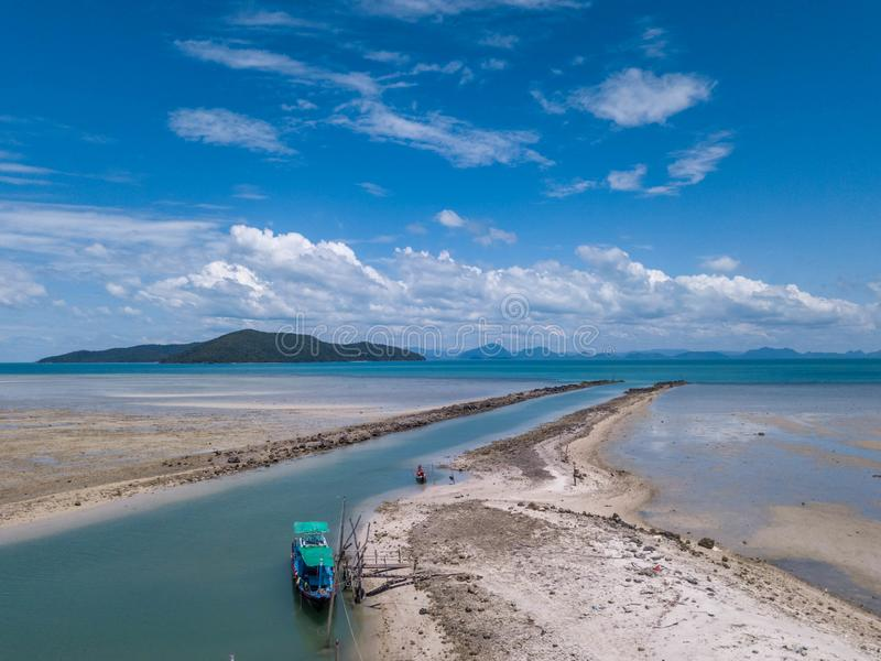 Aerial View of Waterway Channel Made for Boats in Sand Beach.  stock image
