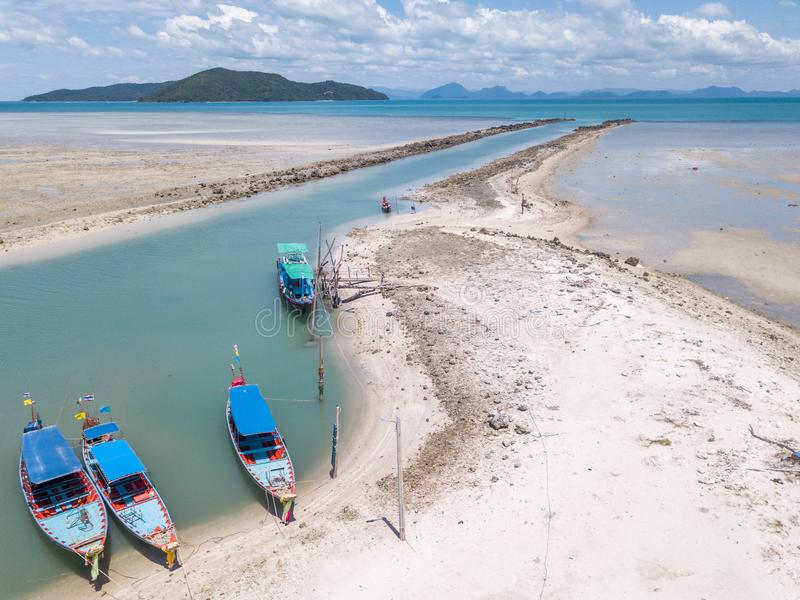 Aerial View of Waterway Channel Made for Boats in Sand Beach.  royalty free stock photo