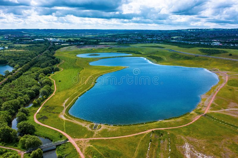 Aerial view of Waverley Lake, Rotherham, South Yorkshire, UK. Taken in June 2019. The new housing development in between Sheffield and Rotherham sports a giant stock photography