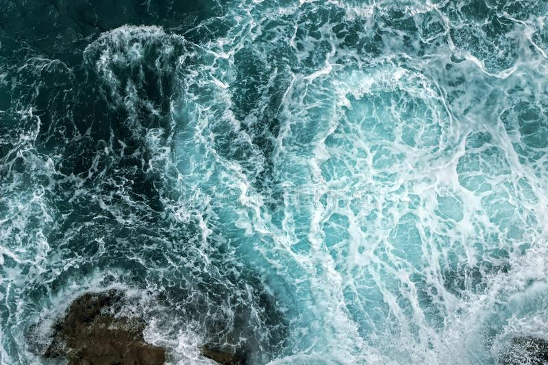 Aerial View Of Waves In Ocean royalty free stock photos