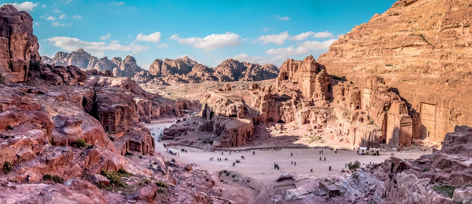 Aerial view from the way to High Sacrifice over Petra, Jordan stock photo