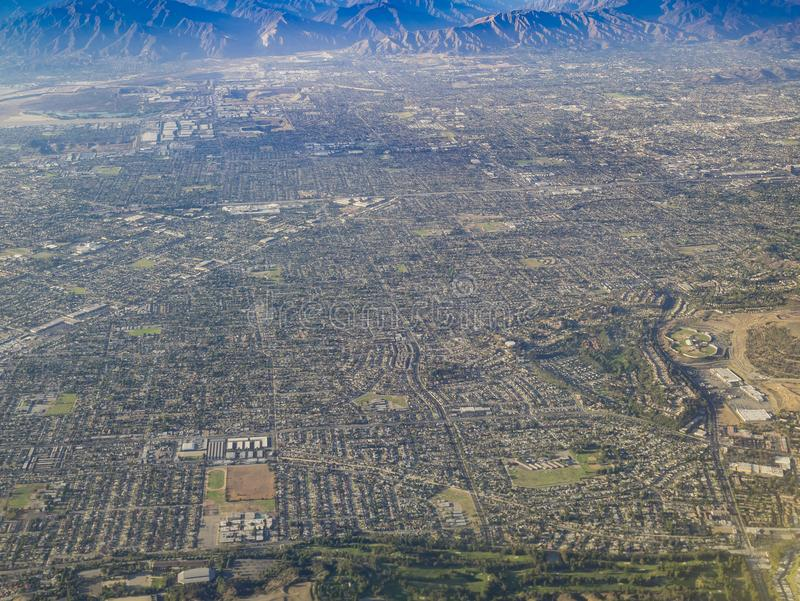 Aerial view of West Covina, view from window seat in an airplane. California, U.S.A royalty free stock images