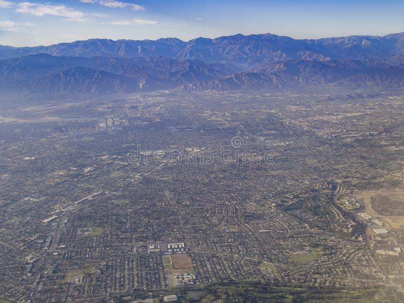 Aerial view of West Covina, view from window seat in an airplane. California, U.S.A stock photography