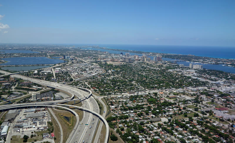 Aerial View of West Palm Beach, Florida. Aerial view of I-95 and beautiful downtown West Palm Beach, Florida royalty free stock photography