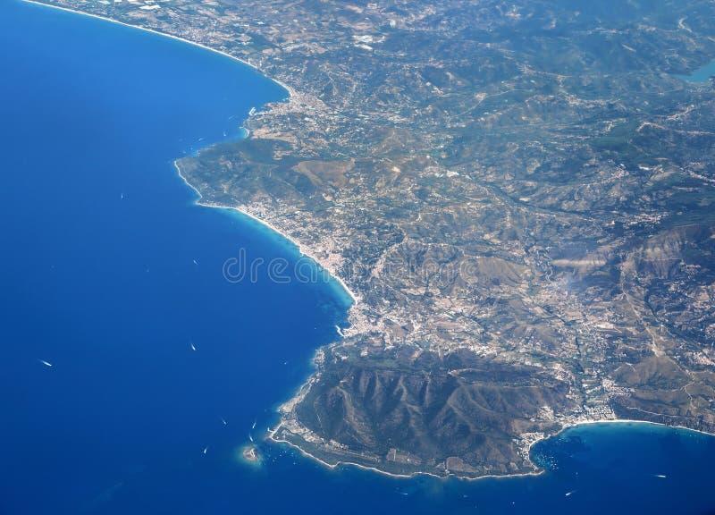 Aerial View of the Western Coast of Italy at Santa Maria di Castellabate. royalty free stock photography
