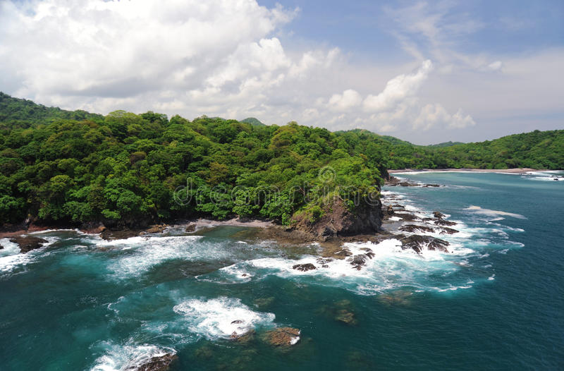 Aerial view of western Costa Rica. Seashore stock photography
