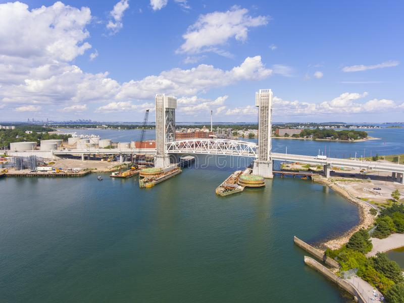 Fore River Bridge in Quincy, Massachusetts, USA. Aerial view of Weymouth Fore River and Fore River Bridge in Quincy, Massachusetts, USA. This new bridge was stock image