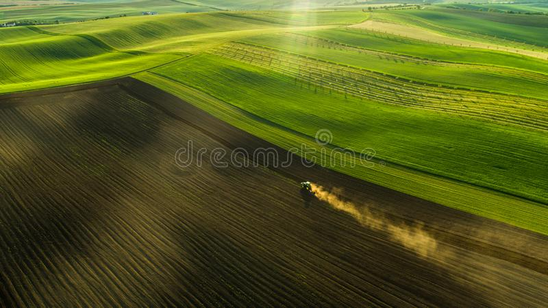 Aerial view of wheat fields and crops in the summer with tractor on work royalty free stock photography