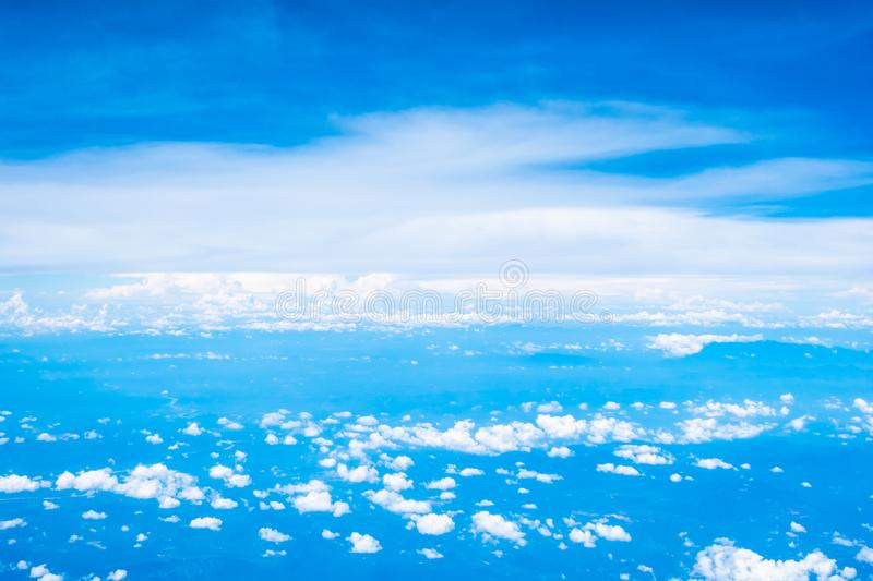 Aerial view of white cloud and blue sky. Aerial view of beautiful nature with white cloud and blue sky stock images