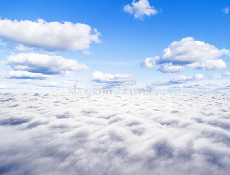 Aerial View White Clouds In Blue Sky. Top View. View From ...