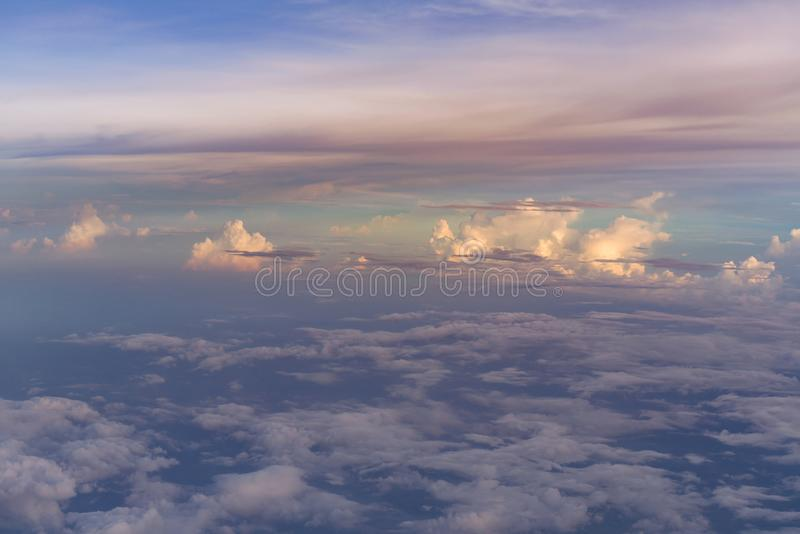 Aerial view white clouds over blue sky royalty free stock images