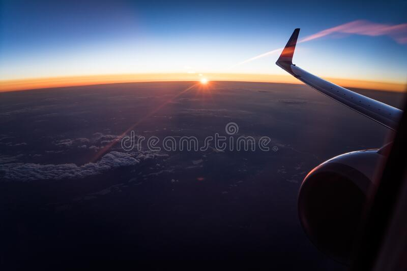 Aerial View of White Clouds during Sunset stock photo