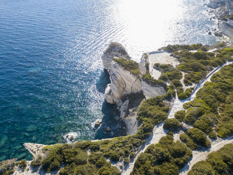 Aerial view on white limestone cliffs, cliffs. Bonifacio. Corsica, France. royalty free stock photo