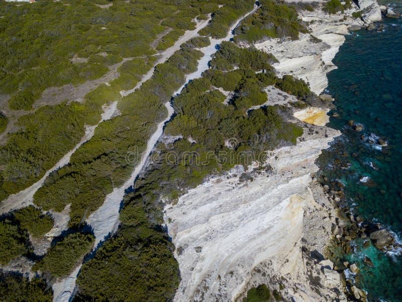 Aerial view on white limestone cliffs, cliffs. Bonifacio. Corsica, France. stock images