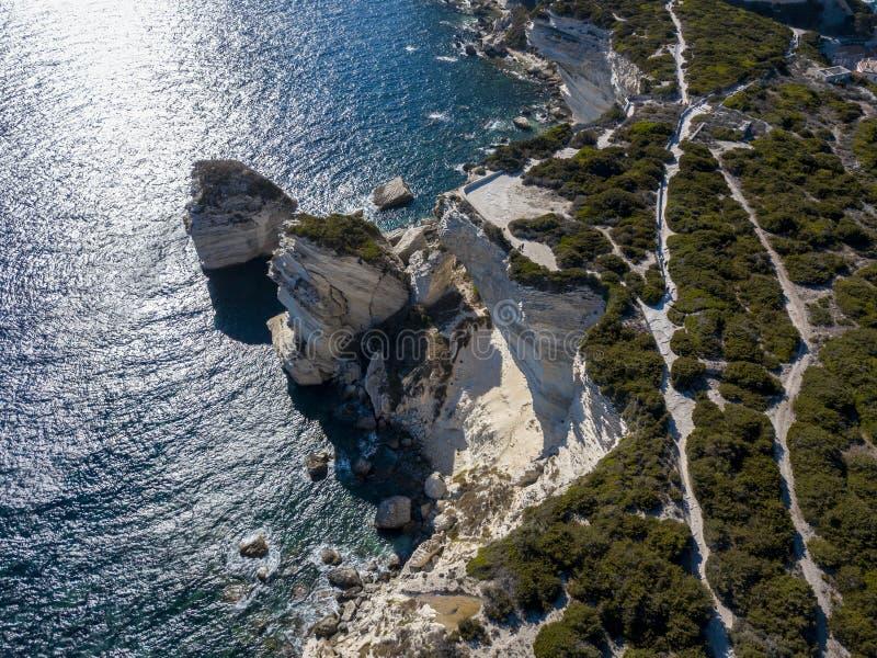Aerial view on white limestone cliffs, cliffs. Bonifacio. Corsica, France. stock photography