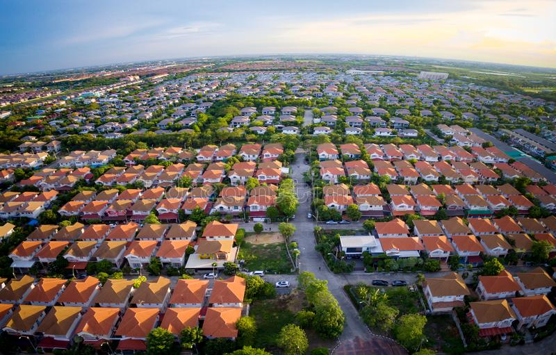 Aerial view of wide angle home village in bangkok thailand