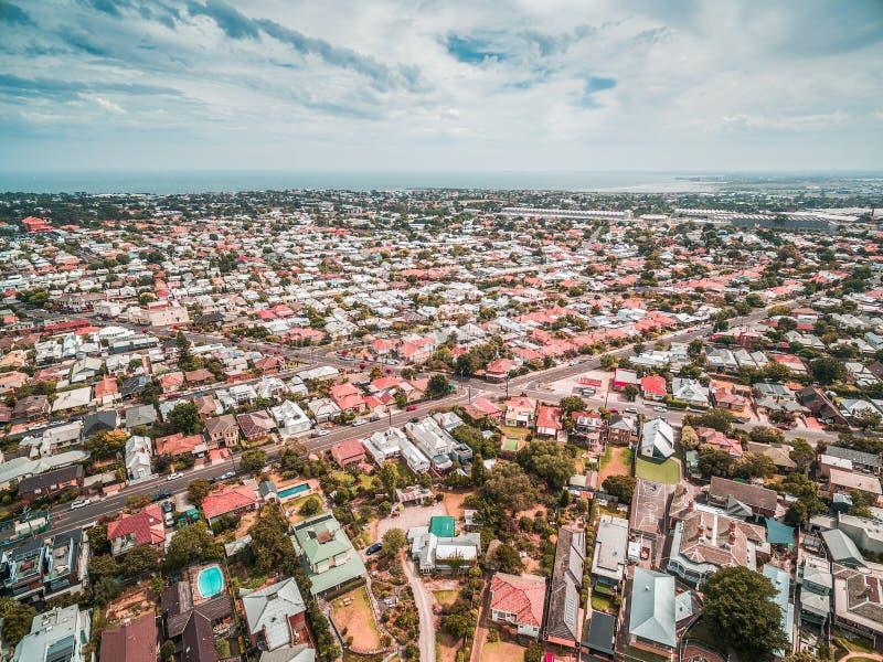 Aerial view of Williamstown coastal suburb in Melbourne, Australia. royalty free stock photo