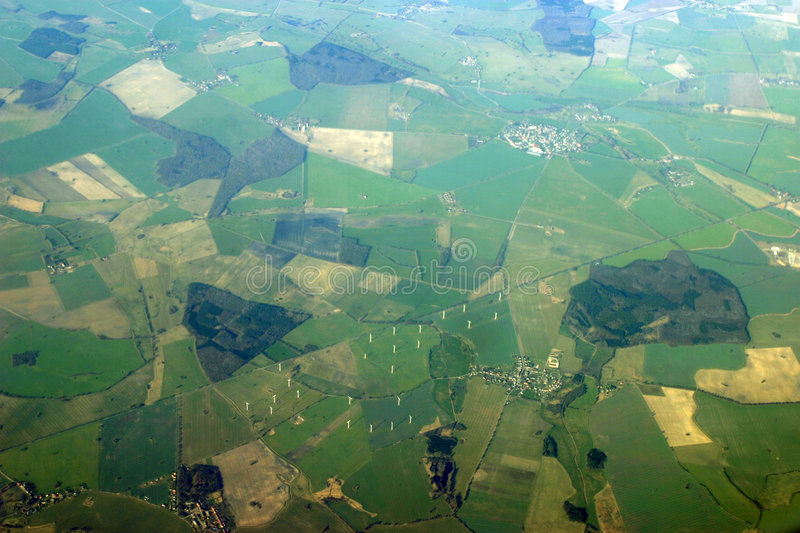 Aerial view - windmills stock photo