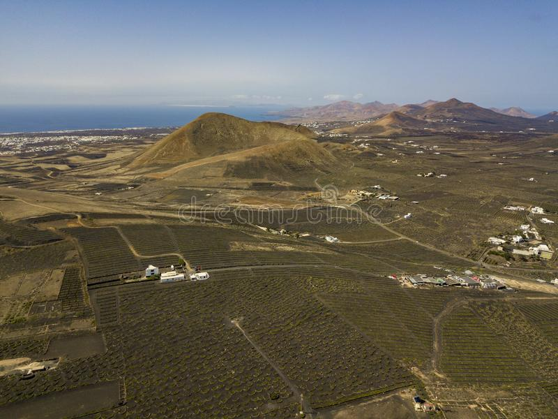Aerial view of the wine cultivations on the volcanic soils of the island of Lanzarote. Canary Islands, Spain. Wine production. Aerial view of the wine stock photography