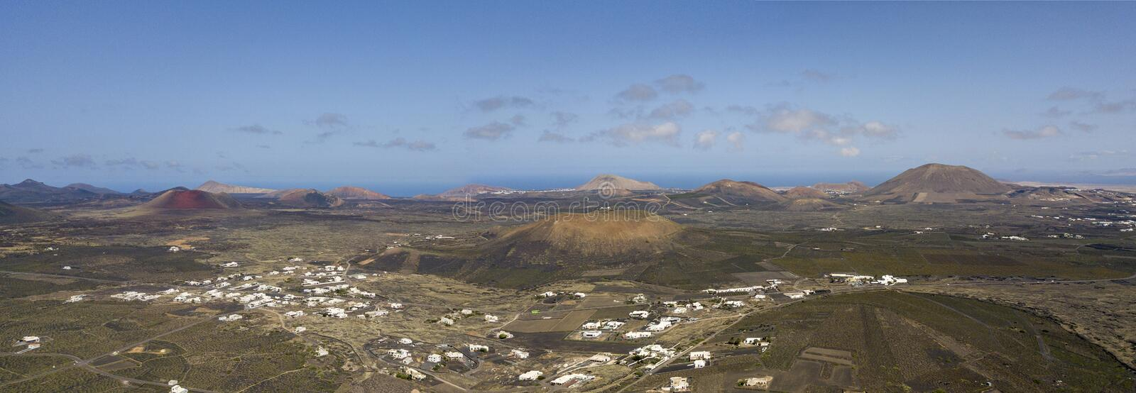 Aerial view of the wine cultivations on the volcanic soils of the island of Lanzarote. Canary Islands, Spain. Wine production. Aerial view of the wine royalty free stock image