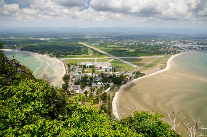Aerial view of Wing 5 Royal Thai Air Force base, Ao Manao beach and Prachuap bay from Kao Lom Muak mountain in Thailand stock photo