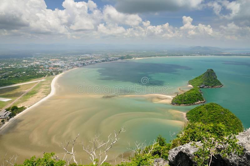 Aerial view of Wing 5 Royal Thai Air Force base, small uninhabited islands in Prachuap bay from Kao Lom Muak mountain in Thailand royalty free stock photo