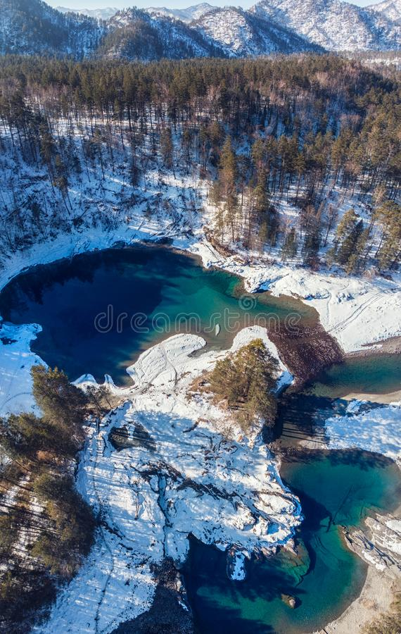 Aerial view of winter blue lakes royalty free stock images