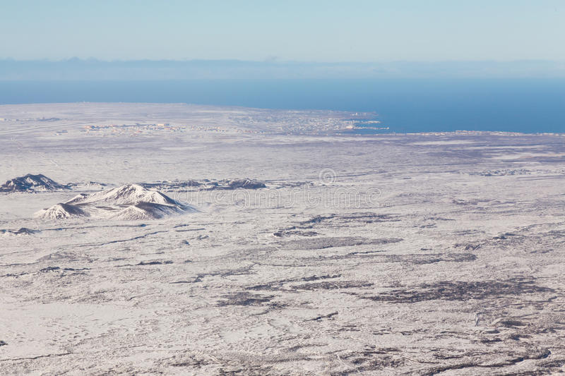 Aerial view winter season snow covered landscape natural landscape background. Iceland stock image
