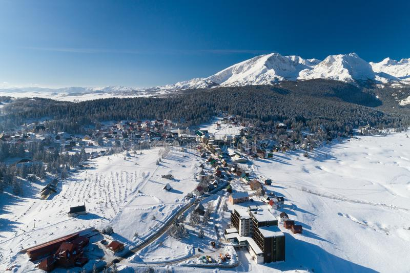Aerial view of winter Zabljak small town in Montenegro royalty free stock image