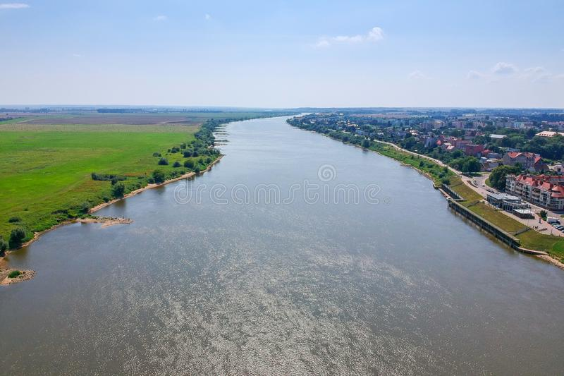 Aerial view of Wisla river in Tczew, Poland. Landscape, pano, panoramic, travel, polish, urban, blue, europe, place, tourist, tourism, city, old, town, sky stock photo