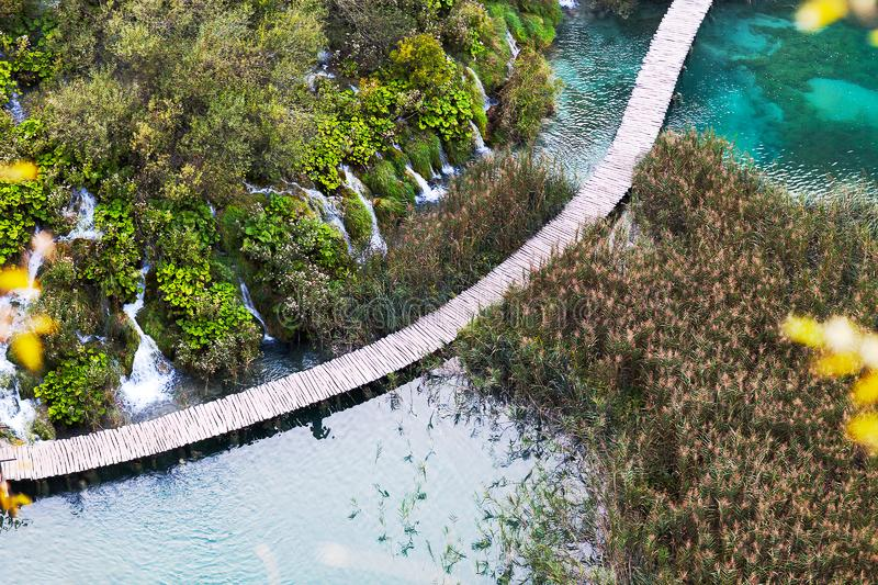 Aerial view on wooden bridge over the lake, Plitvice Lakes stock images