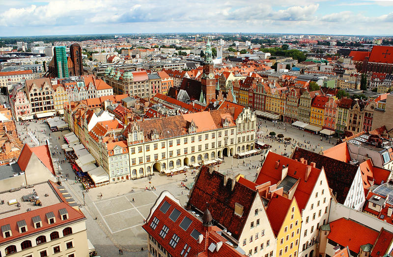 Aerial view on Wroclaw stock images