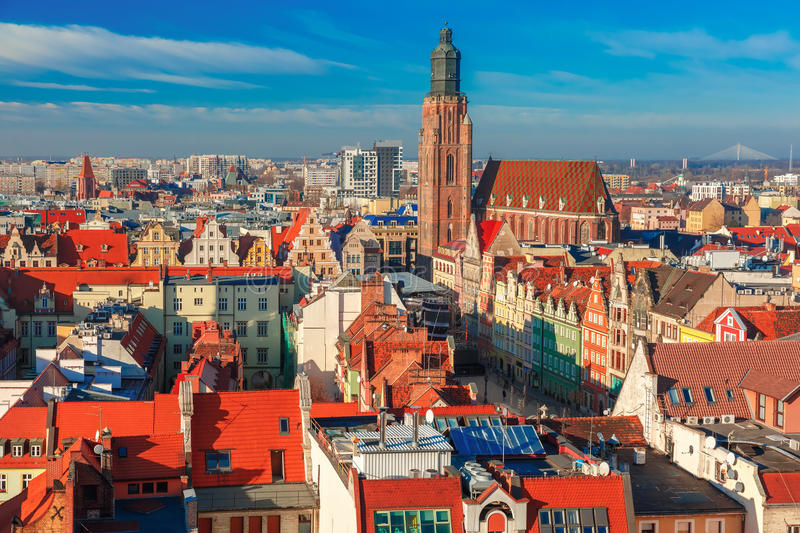 Aerial view of Wroclaw in the morning stock photos