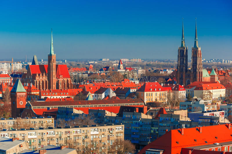 Aerial view of Wroclaw in the morning royalty free stock photo