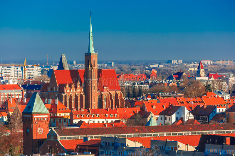 Aerial view of Wroclaw in the morning royalty free stock photos