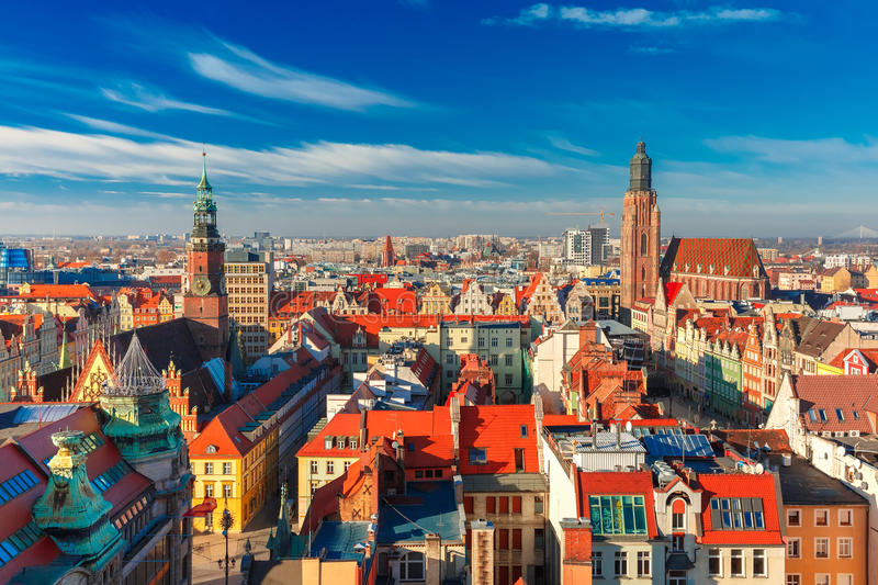 Aerial view of Wroclaw in the morning stock images