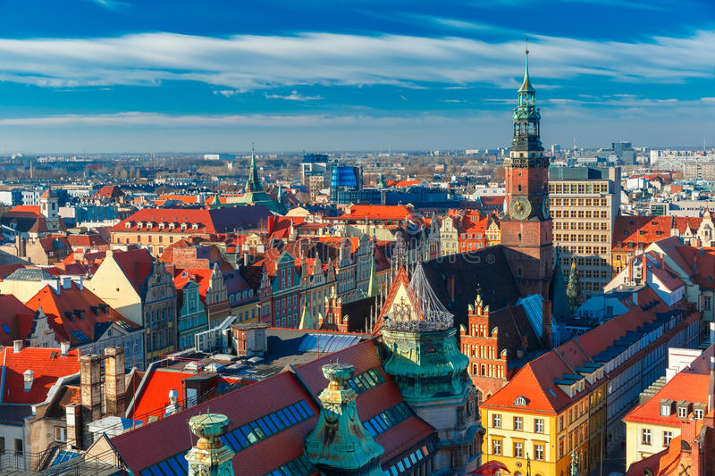 Aerial view of Wroclaw in the morning royalty free stock photography