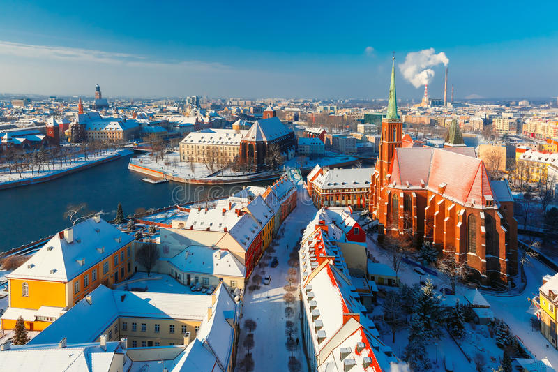 Aerial view of Wroclaw in the winter morning royalty free stock photos