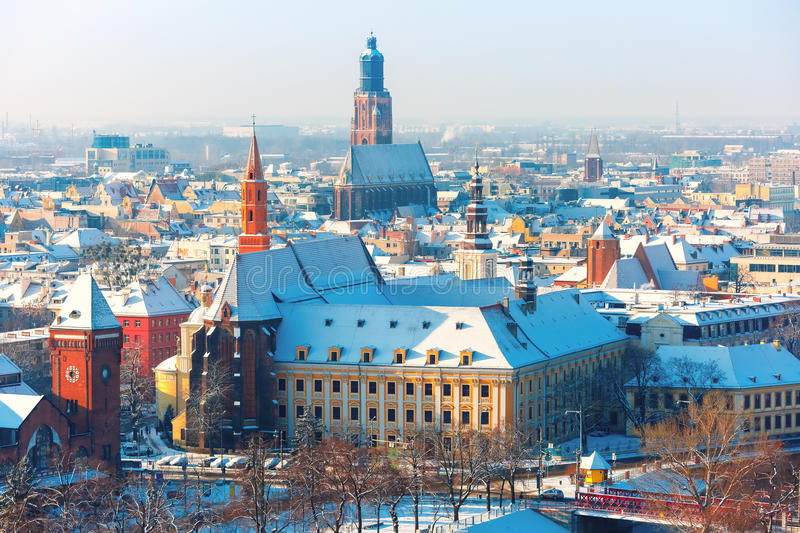 Aerial view of Wroclaw in the winter morning royalty free stock images
