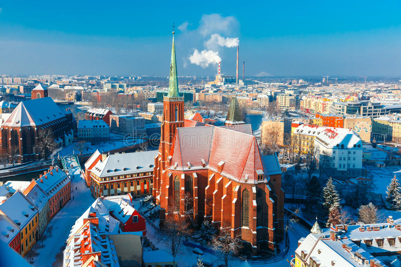 Aerial view of Wroclaw in the winter morning stock photos